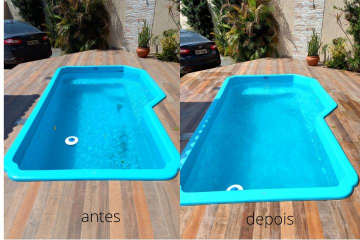 Antes e depois limpeza piscina
